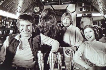 Harrison Ford (Han Solo), Peter Mayhew (Chewbacca), Mark Hamill (Luke Skywalker), and Carrie Fisher (Princess Leia Organa) in Star Wars: A New Hope