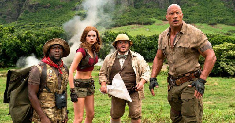 "The cast of Jumanji: Welcome to the Jungle - Kevin Hart (Franklin ""Mouse"" Finbar), Karen Gillan (Ruby Roundhouse), Jack Black (Dr. Shelly Oberon), and Dwayne ""The Rock"" Johnson (Dr. Smolder Bravestone)"