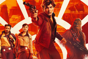 Star Wars movie art featuring Alden Ehrenreich and the cast of Solo: A Star Wars Story