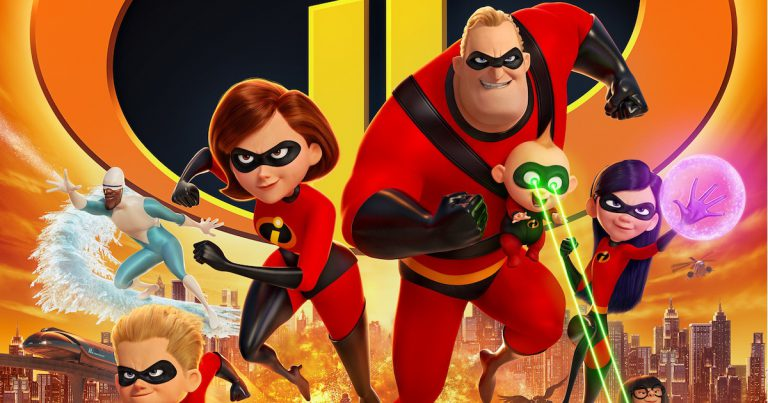 Detail of the movie poster for Pixar's Incredibles 2