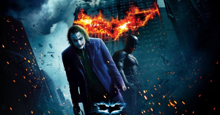 Heath Ledger as the Joker and Christian Bale as Batman in Christopher Nolan's film The Dark Knight