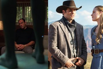 Tony Soprano (James Gandolfini), Teddy Flood (James Marsden), and Dolores Abernathy (Evan Rachel Wood) star in the pilot episodes of HBO's TV series The Sopranos and Westworld