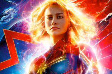 Brie Larson as Carol Danvers on the movie poster for Captain Marvel