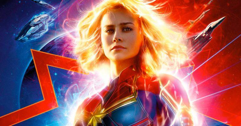 Brie Larson as Carol Danvers on the movie poster for Captain Marvel