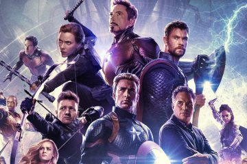 Avengers: Endgame movie poster from Marvel Studios spotlighting the six original Avengers: Black Widow, Iron Man, Thor, Hawkeye, Captain America and the Hulk / Bruce Banner