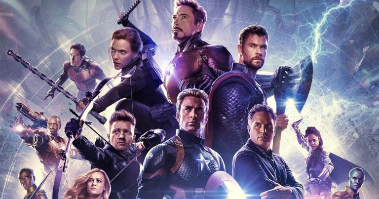 Avengers: Endgame movie poster from Marvel Studios spotlighting the six original Avengers: Black Widow, Iron Man, Thor, Hawkeye, Captain America and the Hulk / Bruce Banner