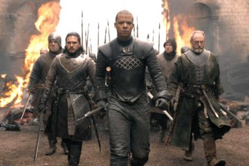 "Jon Snow (Kit Harrington), Grey Worm of the Unsullied (Jacob Anderson), Ser Davos Seaworth (Liam Cunningham) and their army enter the destroyed King's Landing in HBO's Game of Thrones Season 8 Episode ""The Bells"""